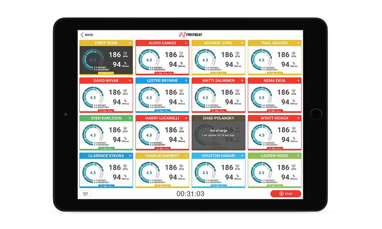 Firstbeat Sports Live app (iPad)